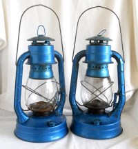 Vintage Kerosene Lantern Electric Blue