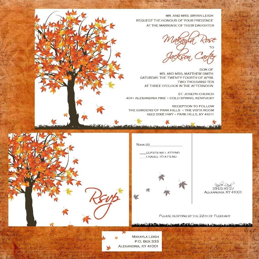 Fall In Love Wedding Invitation Suite With Rsvp Postcards And