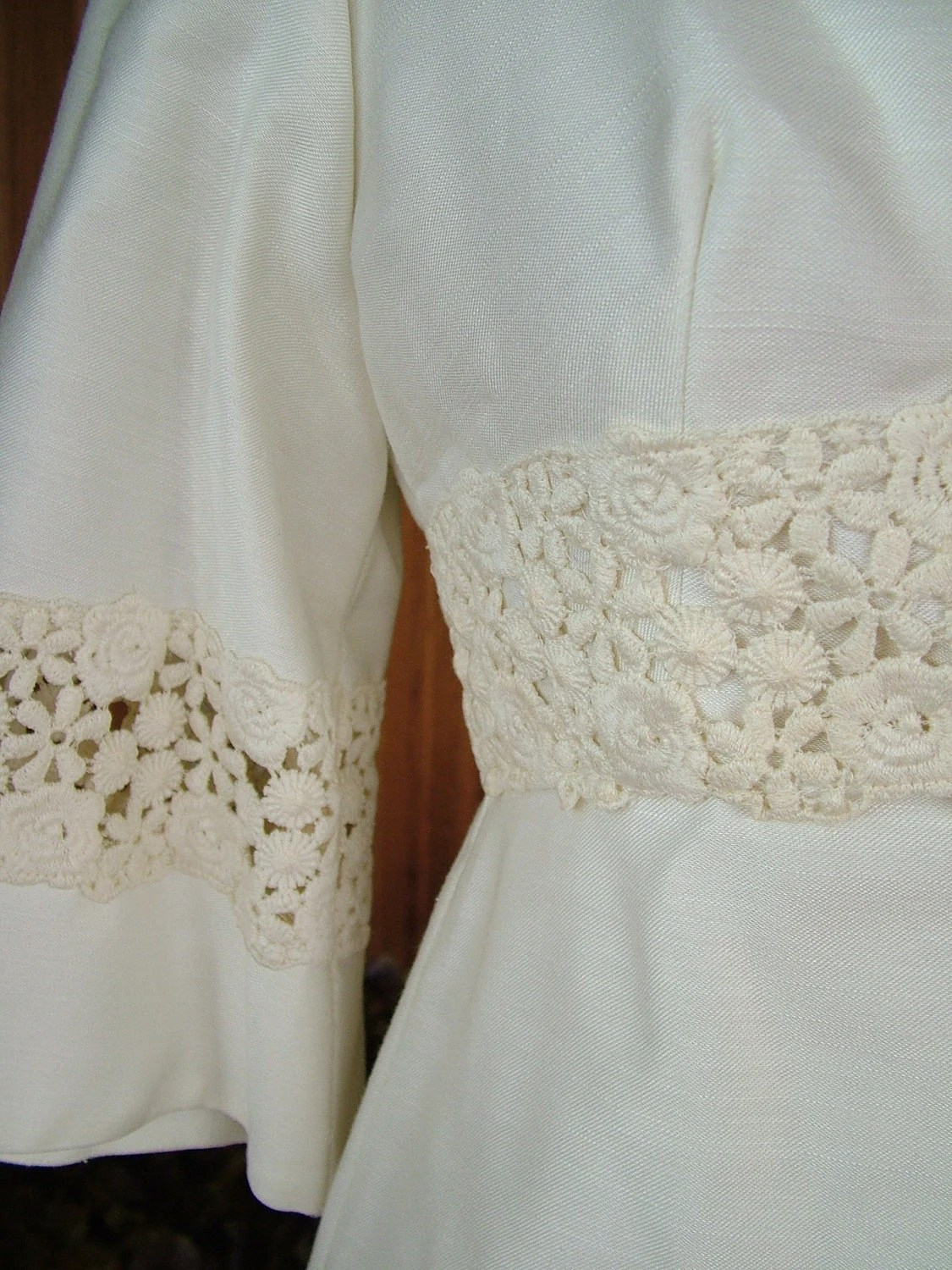 1960s vintage Linen Wedding dress classic by