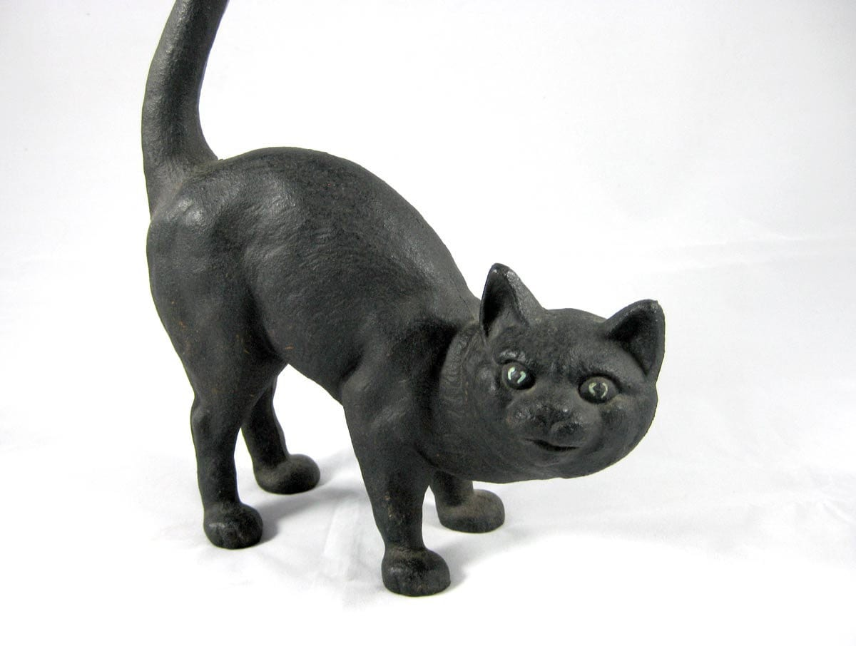 Cat Door Stops Cast Iron Black Cat Door Stop By Niknaknook On Etsy