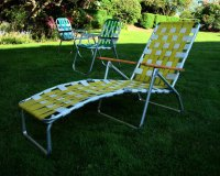 Mid Century Aluminum Chaise Lounge Folding Lawn Chair Aluminum