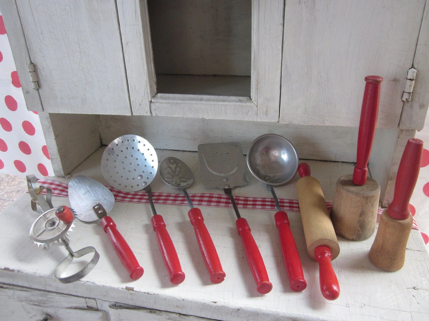 Kitchen Set Name Vintage Toy Kitchen Utensils Red Handle Metal