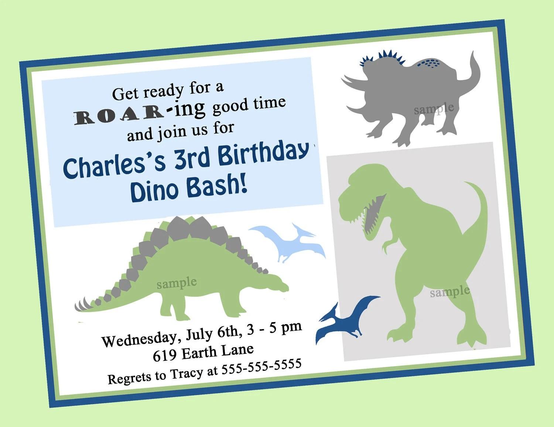 Dinosaur Birthday Invitation Printable or Printed with FREE SHIPPING