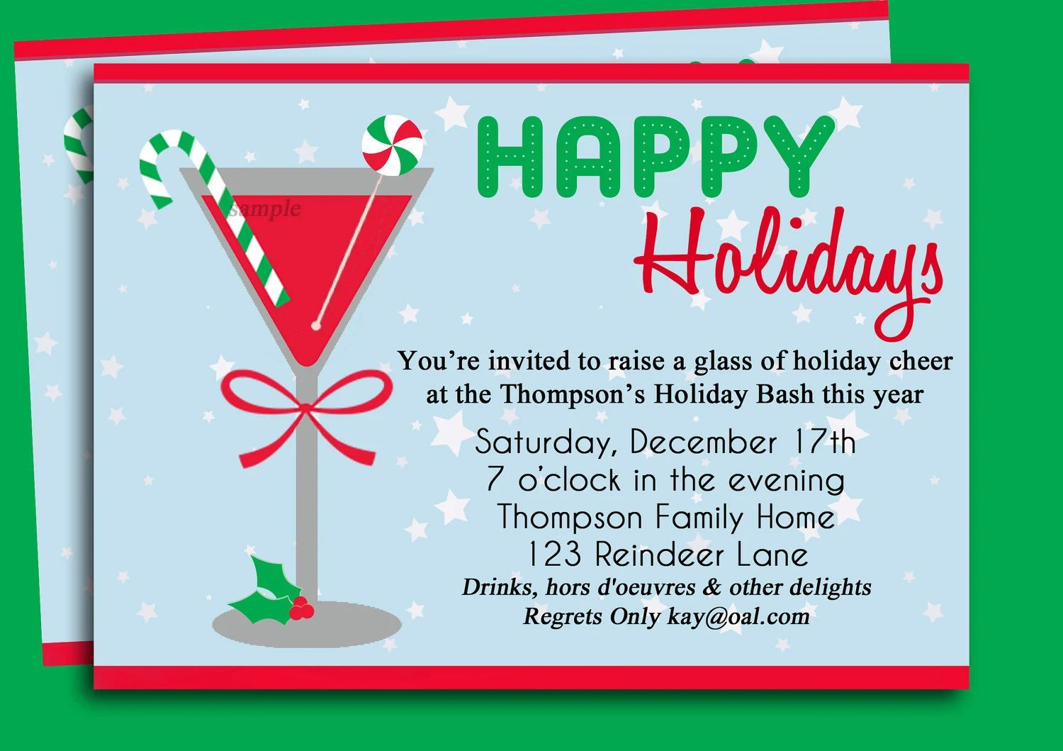 holiday party invitation wording examples