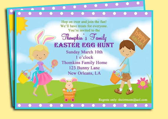 Easter Invitation Printable or Printed with FREE SHIPPING - You pick