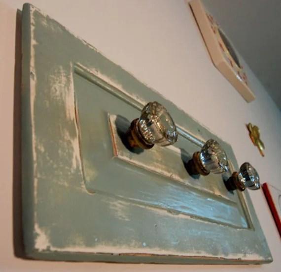 Upcycled Antique Glass Doorknob Coat Rack Mounted On