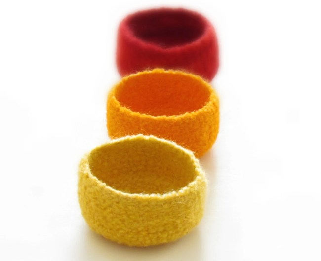 Yellow felted bowls / summer colors / Three little bowls in yellow, orange and red / mothers day gift bright colors