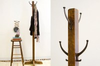 Old-Fashioned Antique Wooden Coat Rack