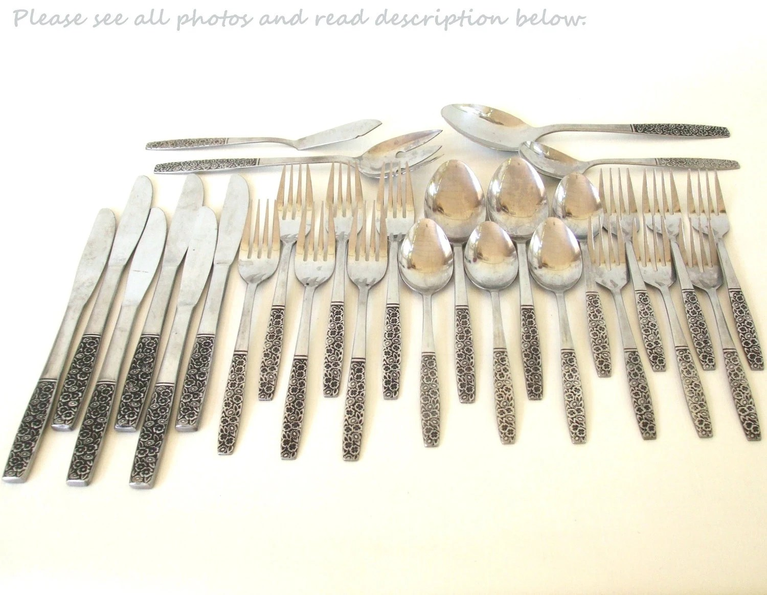 Japanese Flatware Set Mid Century Stainless Flatware Set Rogers Fragrant Rose Japan