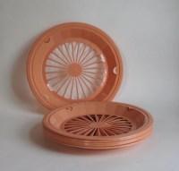 Vintage Plastic Paper Plate Holders Set of Eight peach