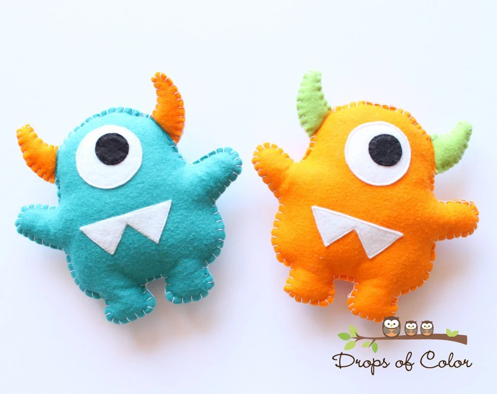 Toy Monster Two Monsters Plush Felt Toy Nursery Decoration / Party
