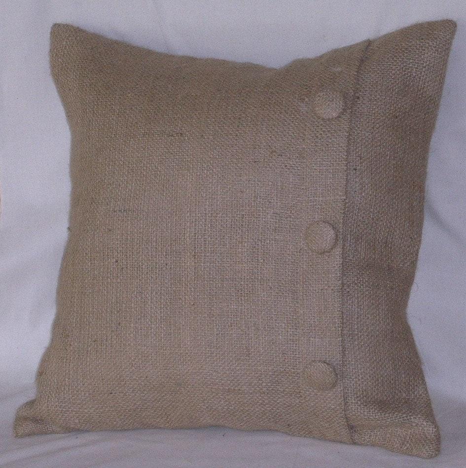 Burlap Euro Pillow Sham with 3 Buttons 26 X 26