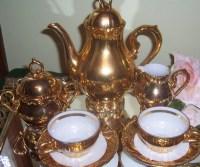 Vintage tea service gold plated porcelain bavarian tea set