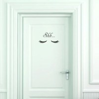 Shh... Closed Eyes Vinyl Wall Decal Small Door Size