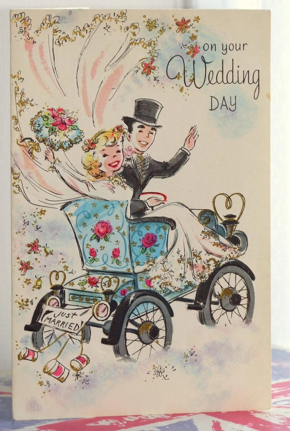 Married Couple Wallpaper With Quotes Vintage Greetings Card Just Married Wedding