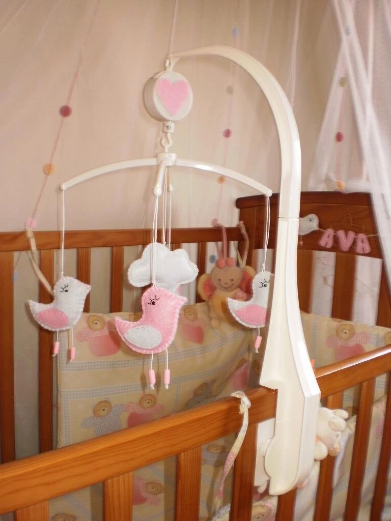 Mobile Crib Musical Musical Baby Crib Mobile Pink And White Birds With Music