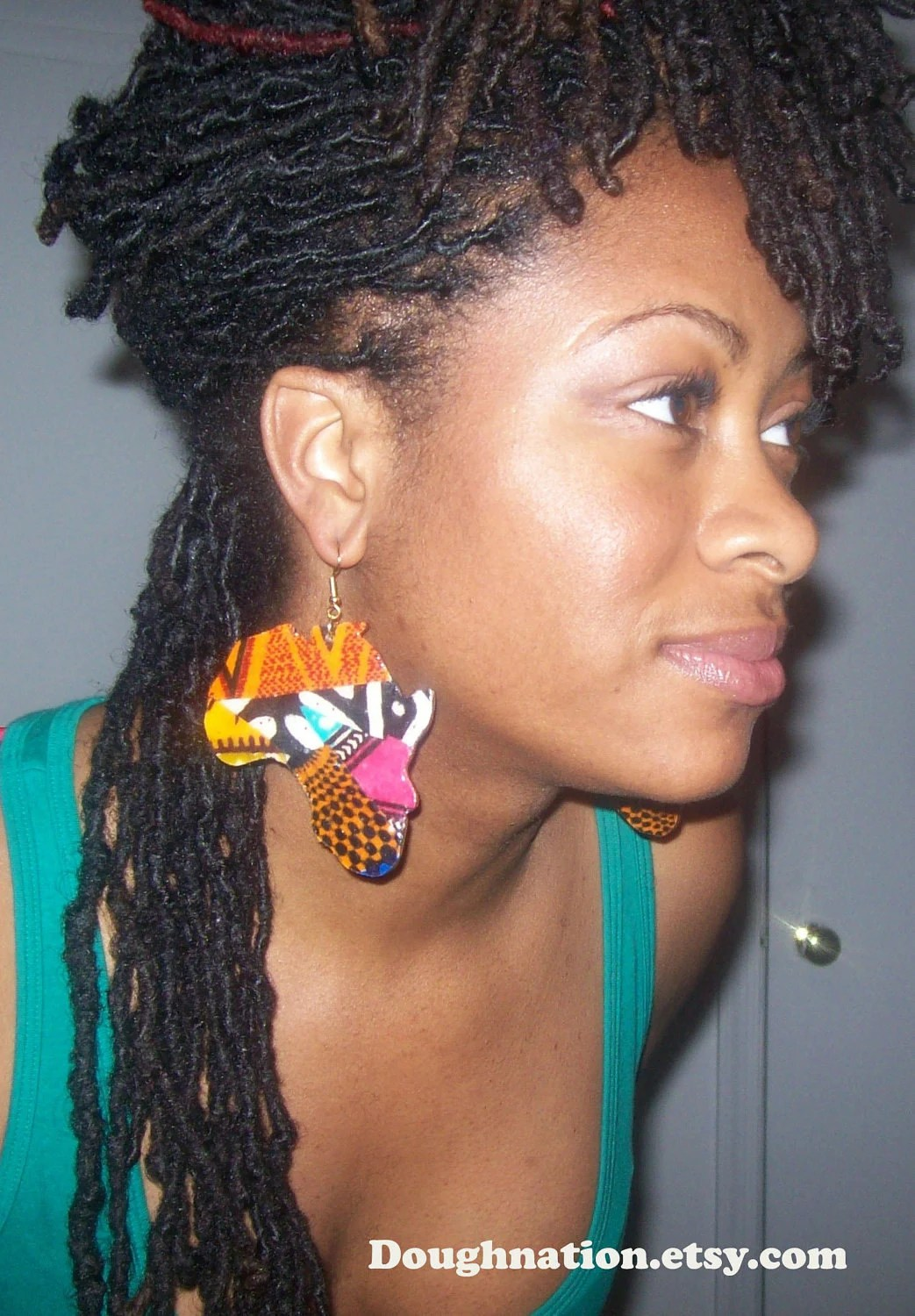 Large Africa Shaped Fabric Earrings by doughnation on Etsy