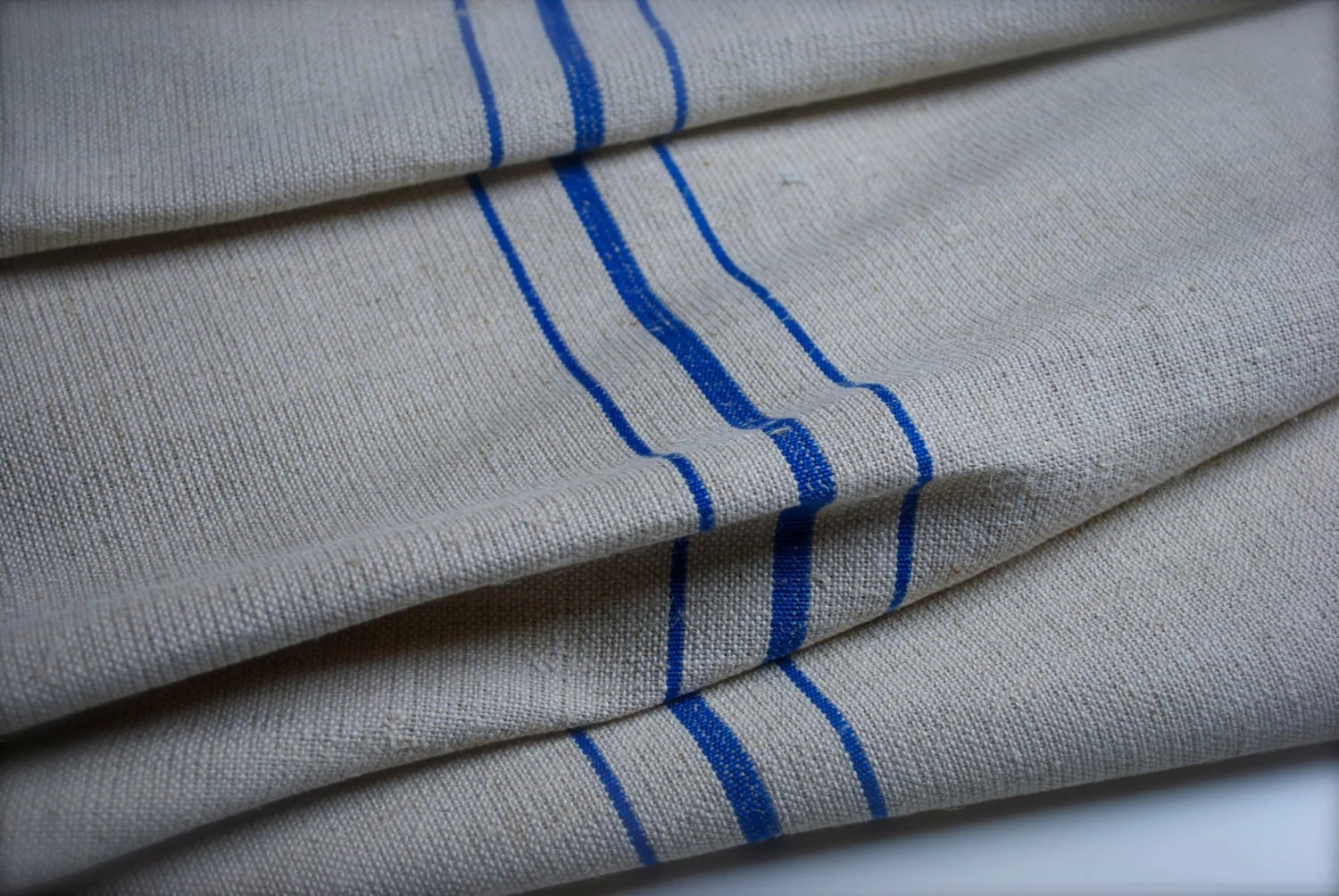 Flour Sack Fabric By The Yard Vintage French Grain Sack Fabric Last 1 Yard Blue Stripes