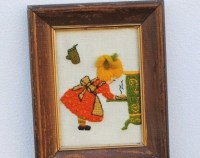 Vintage Kitchen Decor 3D Wall Art Framed Embroidery Little