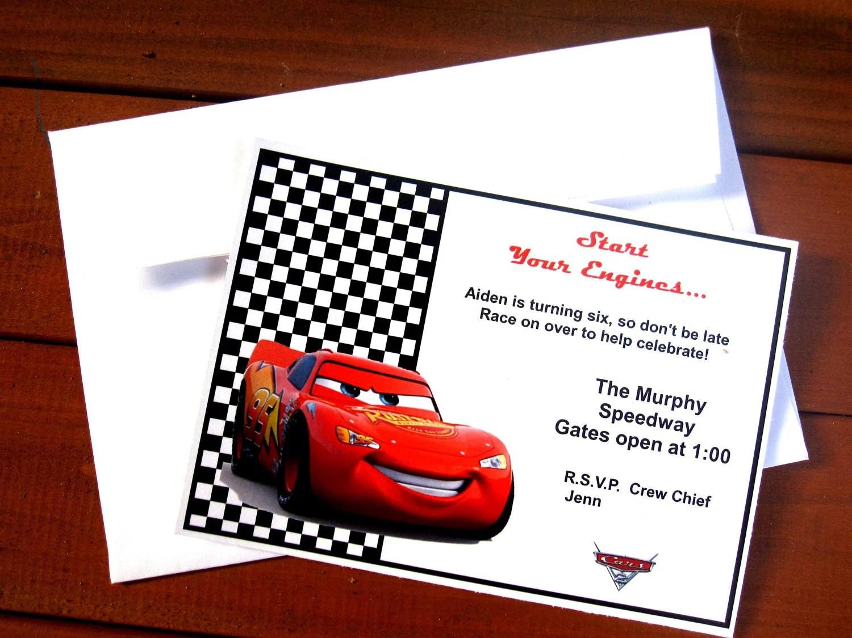 Disney Pixar Cars Invitation