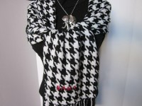 Soft Woven Houndstooth Scarf with Crimson BAMA for University
