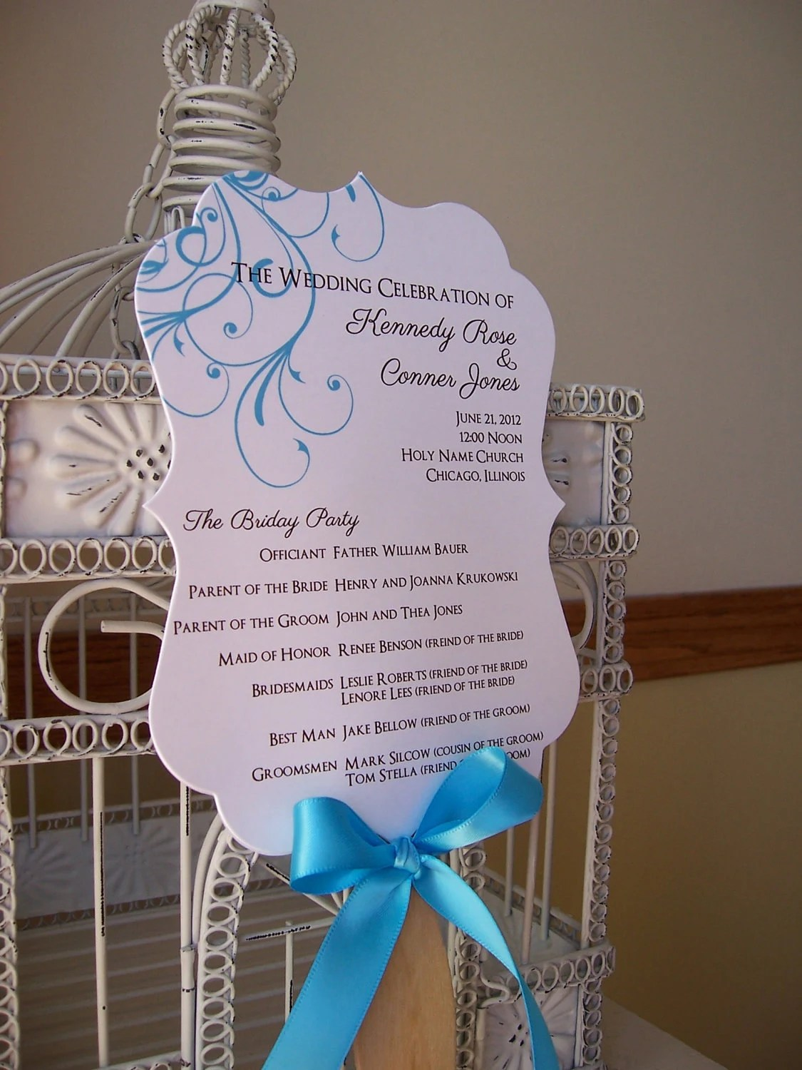 Custom Paddle Fans Fan Wedding Program With Scalloped Paddle Custom Colors And