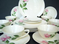 Beautiful Shabby Chic Pink Rose Dinnerware Set Mid Century