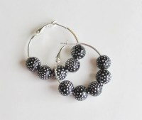 Small Black and Silver Hoop Earrings by StrictlyCute on Etsy