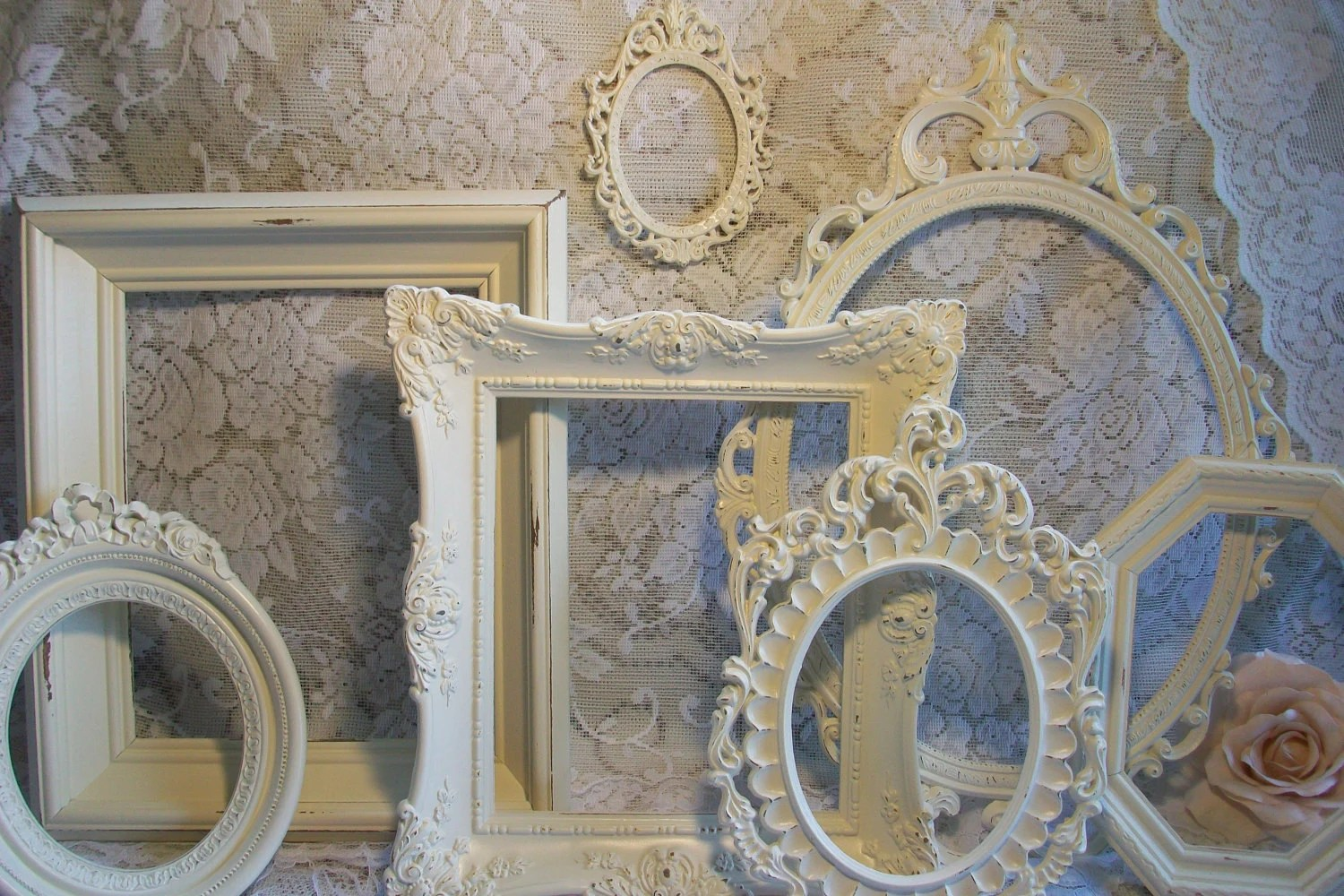 Rectangle Table Shabby Chic Frames White Frames Vintage Picture By