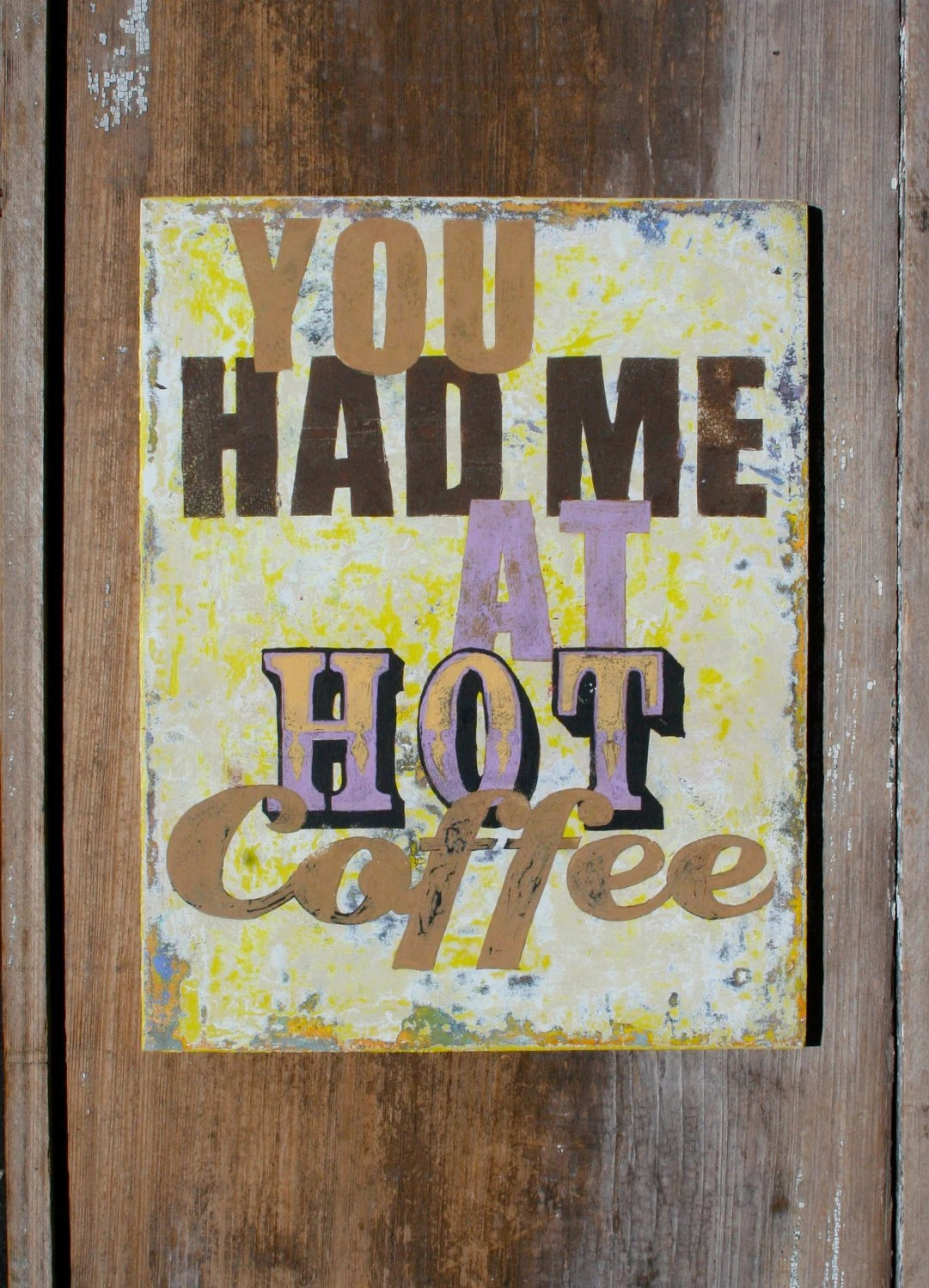 Coffee Art Etsy Painted Coffee Art Sign On Reclaimed Wood