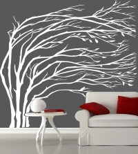 Modern White blowing tree wall decal silhouette by ...