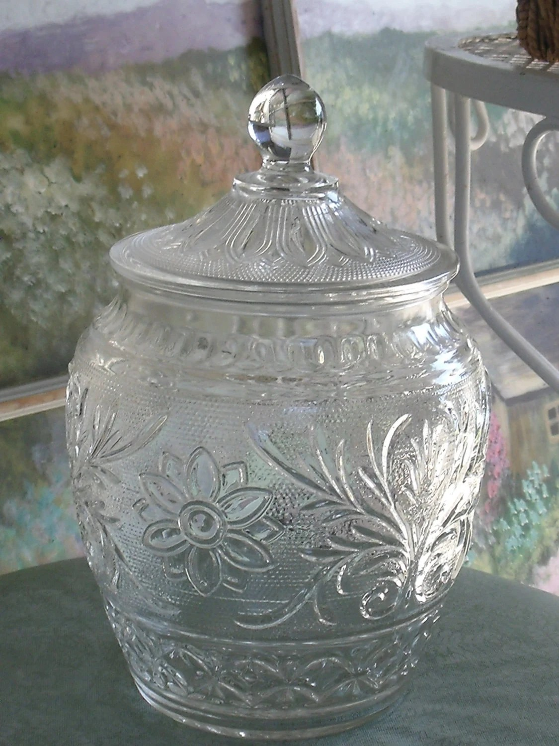 Keksdose Glas Clear Depression Style Glass Cookie Jar With Lid Anchor
