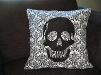 Decorative Skull Pillow Cover Black Embroidered Skull 16 x