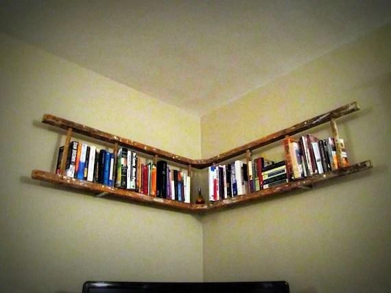 Antique Wooden Ladder Bookshelf