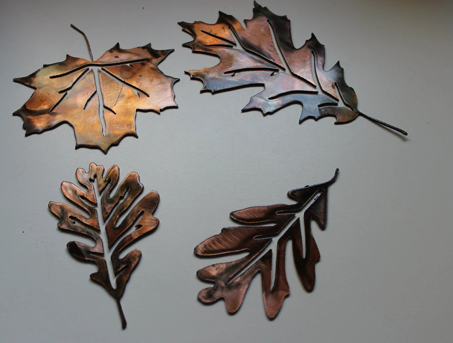 Leaf Metal Wall Art Metal Wall Art Leaves Set Of 4 By Heavensgatemetalwork On Etsy