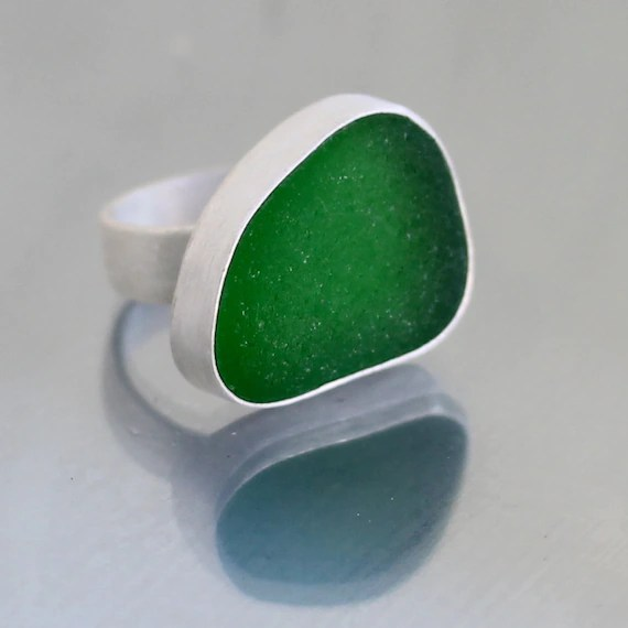 Sea Glass & Sterling Silver Ring - Custom Size and Color