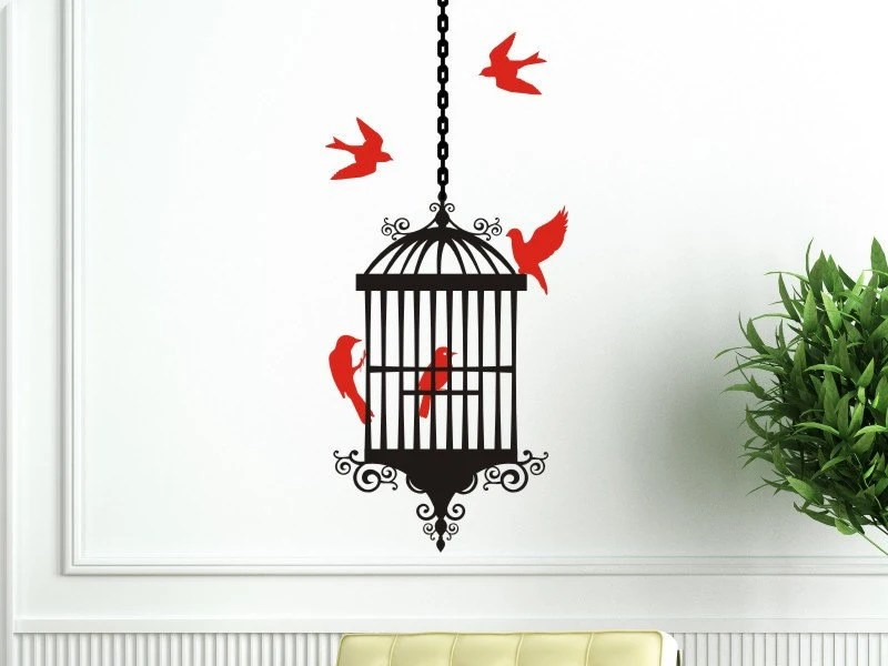 Bird Cage Wall Decal With Bird Cage 5 Birds And 1 Length Of