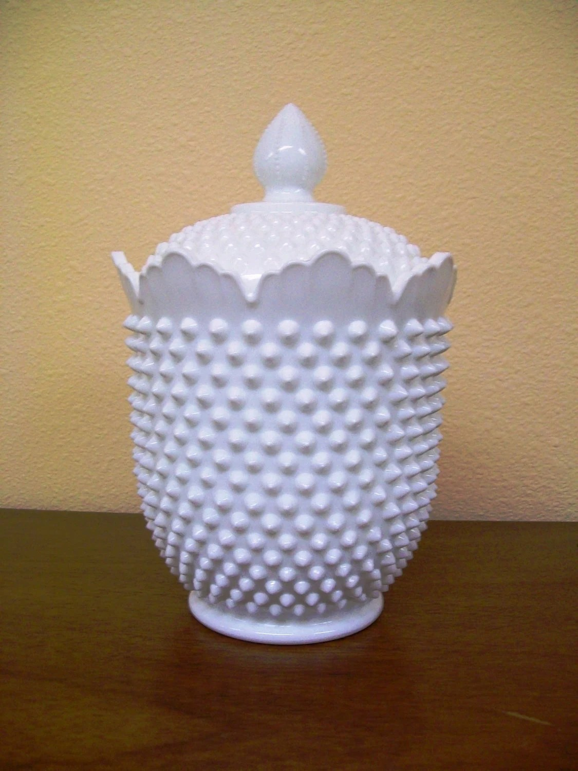 Huge Glass Cookie Jar On Sale Rare Milk Glass Large Hobnail Cookie Jar