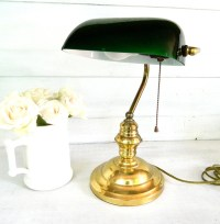 Vintage Desk Lamp Brass Jade Green Glass