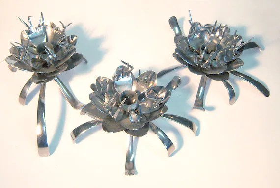 Artichoke Blossom Candle Holders Set Of 3