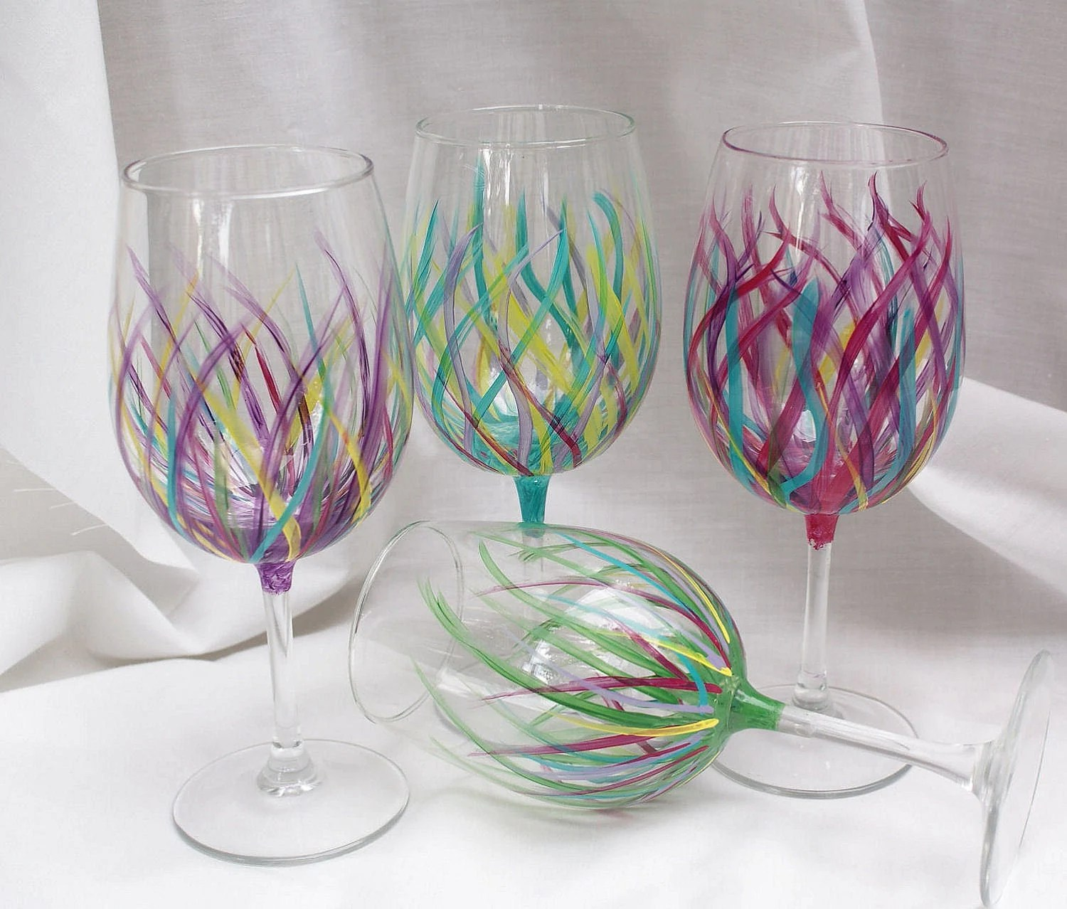 Affordable Wine Glasses Affordable Handpainted Wine Glasses Wedding By