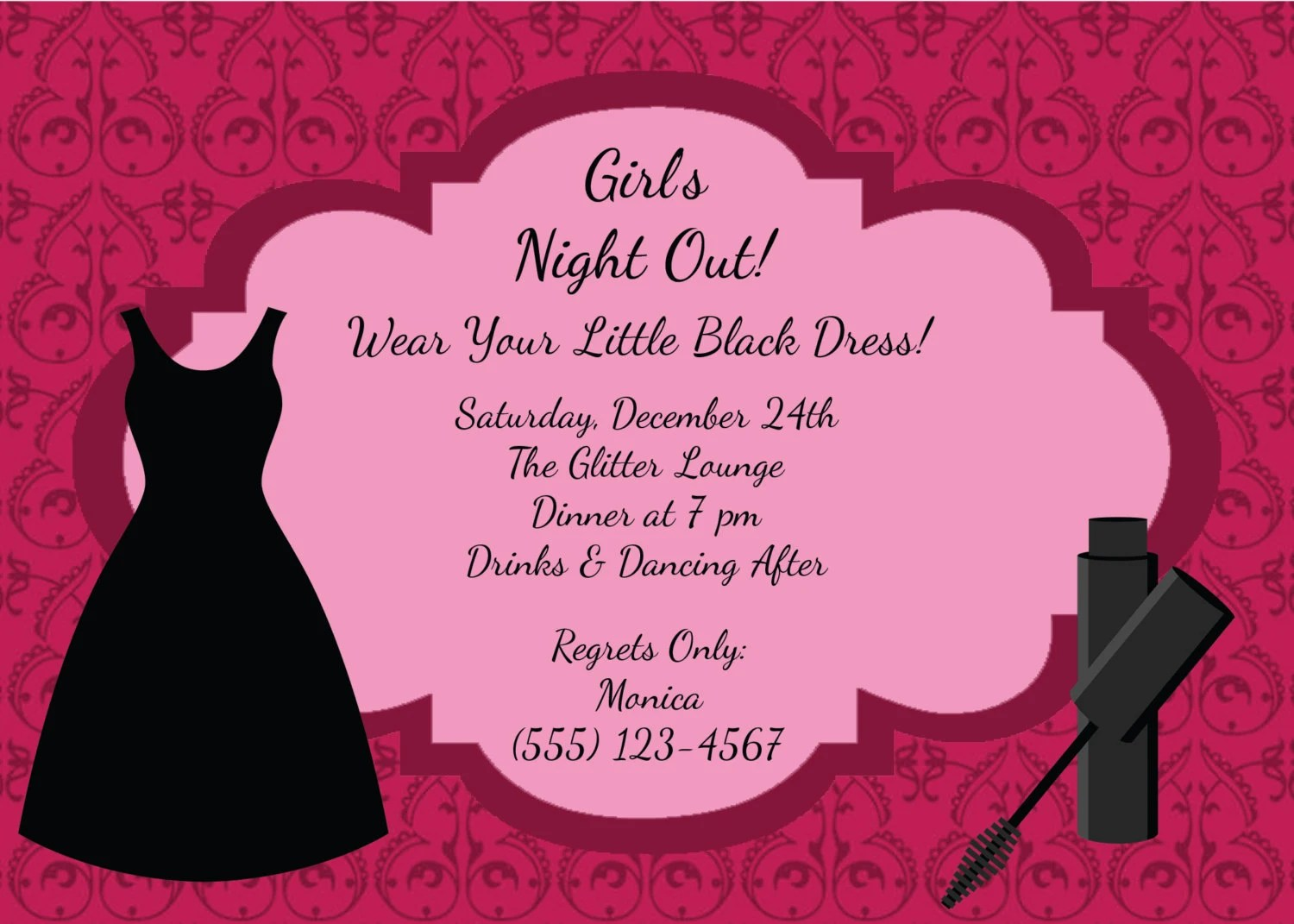 Girls Night Out Invitation Great For Bachelorette Party Diy