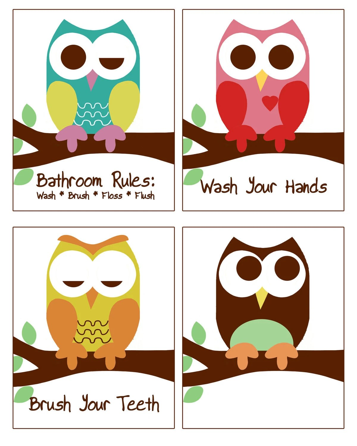 Owl Decor For Bathroom Owl Bathroom Decor Set Of 4 8x10 Prints Owl Bathroom Prints