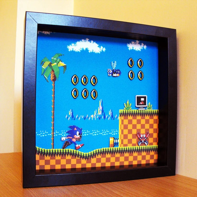 3d Sonic The Hedgehog Shadow Box Art By 8bitheroes On Etsy
