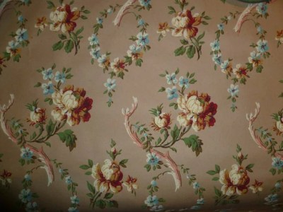 Antique Wallpaper Vintage Block Printed Shabby Chic Roses