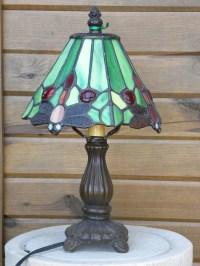 small vintage stained glass lamp