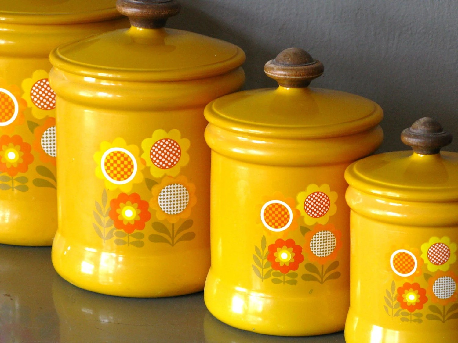 Kitchen Set Name Kitchen Canister Set Metal Yellow Flower By Westbend Yellow