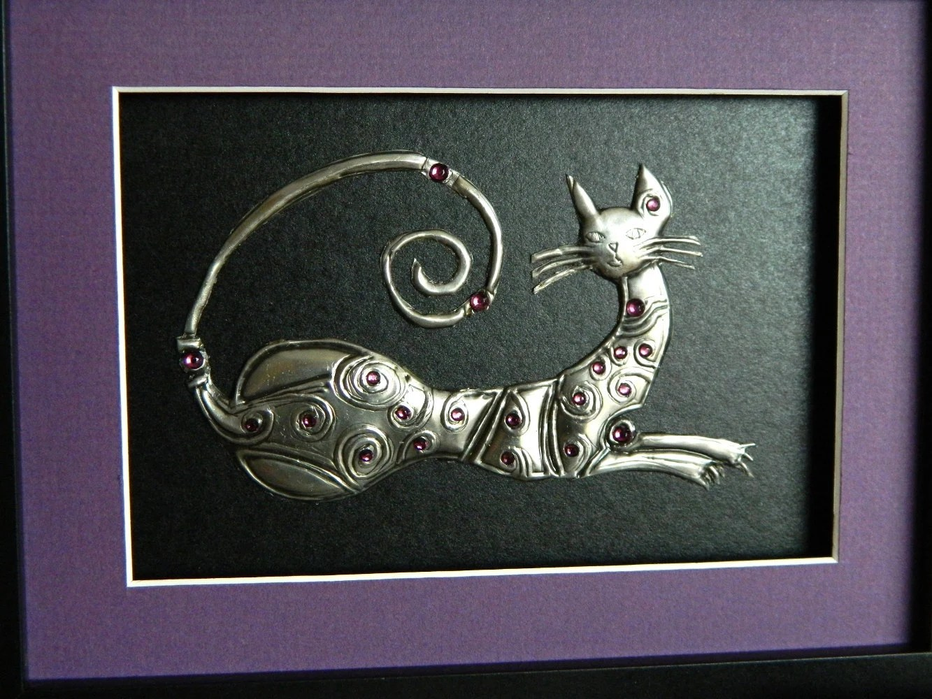 Cat Wall Art Metal Metal Art Sculpture Framed Pewter Cat Black And Purple By