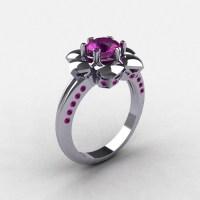 950 Platinum Amethyst Wedding Ring Engagement Ring