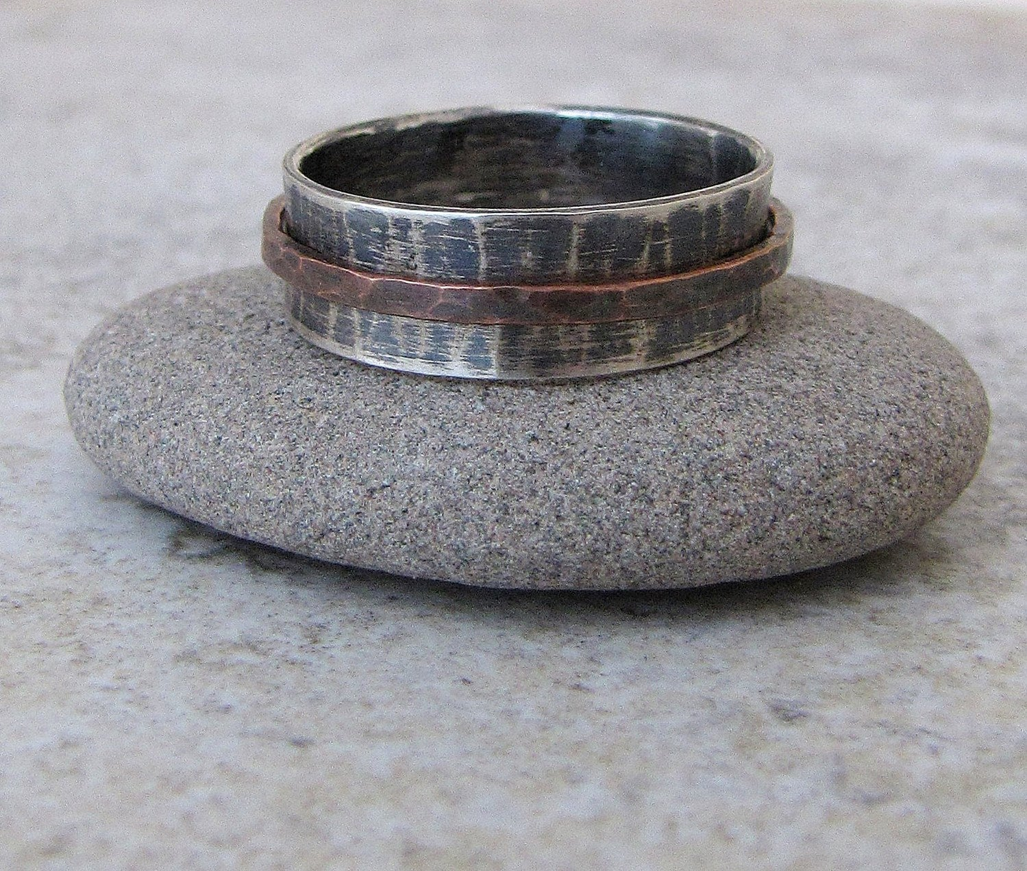 mens spinner ring western wedding rings Mens Wedding Band Silver Copper Spinner Ring Hammered Wedding Ring Rustic Engraved RUSH